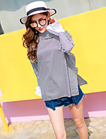 cheap -Women's Casual/Daily Street chic Shirt,Striped Stand Long Sleeves Cotton