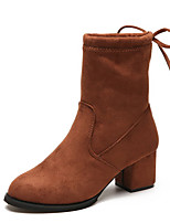 cheap -Women's Shoes PU Spring Fall Comfort Boots Chunky Heel for Outdoor Brown Black