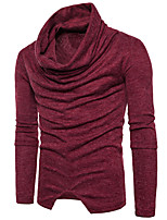 cheap -Men's Daily Regular Pullover,Solid Color Turtleneck Long Sleeve Japanese Cotton Spring Fall Opaque Micro-elastic