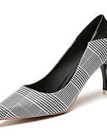 cheap -Women's Shoes PU Spring Fall Comfort Heels High Heel Pointed Toe for Casual Almond Black