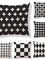 cheap -6 pcs Textile Cotton/Linen Pillow Cover, Polka Dot Plaid/Checkered Geometric