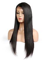 Недорогие -Натуральные волосы Лента спереди Парик Перуанские волосы Прямой С пушком 130% плотность Необработанные Природные волосы Короткие Средние
