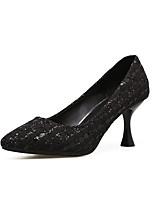 preiswerte -Damen Schuhe PU Frühling Komfort High Heels Stöckelabsatz Spitze Zehe für Normal Gold Weiß Schwarz