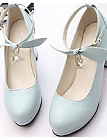 cheap -Women's Shoes PU Spring Fall Comfort Heels Chunky Heel Round Toe for Casual Pink Blue Beige