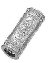 cheap -DIY Jewelry 1 pcs Beads Imitation Diamond Alloy Gold Silver Cylinder Bead 0.5 cm DIY Necklace Bracelet