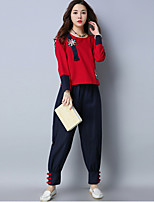 cheap -Women's Daily Casual Fall Set Pant Suits,Print Round Neck Long Sleeve Polyester
