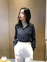 cheap -Women's Casual/Daily Vintage Shirt,Solid V Neck Long Sleeves Cotton