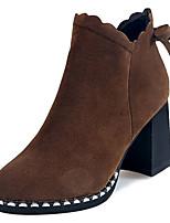 baratos -Mulheres Sapatos Borracha Primavera Outono Coturnos Botas Salto Robusto para Preto Khaki