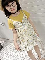 cheap -Girls' Daily Geometric Clothing Set, Cotton Summer Half Sleeves Cute Yellow