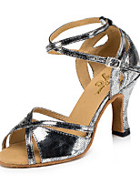 cheap -Women's Latin Leatherette Sandal Sneaker Indoor Practice Trim Stiletto Heel Gray Silver Gold Customizable