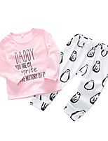 cheap -Baby Girls' Daily Print Letter Clothing Set,Cotton Spring Cute Long Sleeve Blushing Pink