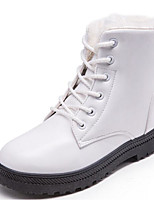 cheap -Women's Shoes Net PU Winter Fall Comfort Combat Boots Boots Flat Heel Mid-Calf Boots for Casual White Black Brown
