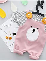 Недорогие -Дети (1-3 лет) Набор одежды Хлопок Однотонный Мультипликация Весна Длинные рукава Розовый Желтый Светло-коричневый