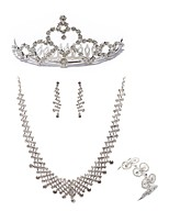 cheap -Women's Tiaras Bridal Jewelry Sets Rhinestone Fashion European Wedding Party Imitation Diamond Alloy Geometric Body Jewelry 1 Necklace 1