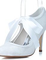 preiswerte -Damen Schuhe Satin Tüll Frühling Sommer Pumps Hochzeit Schuhe Stöckelabsatz Runde Zehe Band-Bindung für Hochzeit Party & Festivität Weiß