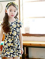 cheap -Girl's Going out Floral Dress,Cotton Summer ½ Length Sleeve Vintage Navy Blue