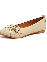 baratos -Mulheres Sapatos Couro Ecológico Primavera Conforto Rasos Sem Salto Dedo Apontado para Casual Preto Bege Amarelo
