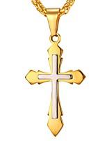 Недорогие -Муж. Крест Классика На каждый день Ожерелья с подвесками , Нержавеющая сталь Ожерелья с подвесками , Повседневные