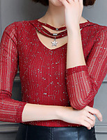 abordables -Mujer Casual Diario Otoño Camiseta,Escote en Pico Un Color Mangas largas Poliéster Opaco