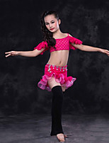 cheap -Belly Dance Outfits Children's Performance Lace Lace Ruffles Short Sleeve Dropped Skirts Top