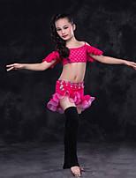 abordables -Danza del Vientre Accesorios Niños Actuación Encaje Encaje Plisados Mangas cortas Cintura Baja Faldas Tops