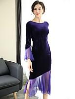 Недорогие -Для женщин Для вечеринок Секси Оболочка Платье Однотонный,Вырез лодочкой Средней длины 3/4 рукава Полиэстер Весна Со стандартной талией