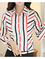 cheap -Women's Cotton Shirt - Striped Shirt Collar
