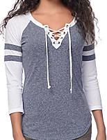 economico -T-shirt Da donna Quotidiano Casual Primavera,Monocolore A V Cotone Maniche lunghe