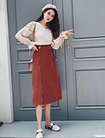 abordables -Tee-Shirt Jupe Costumes Femme,Couleur Pleine Sortie Chic de Rue Hiver Automne Manches longues Col en V Couleur unie Polyester