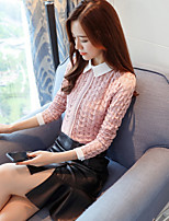 cheap -Women's Daily Vintage All Seasons T-shirt,Solid Color Block Shirt Collar Long Sleeve Polyester