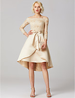 abordables -Corte en A Princesa Asimétrica Encaje Satén Fiesta de Cóctel Vestido con Apliques Lazo(s) Cinta / Lazo por TS Couture®
