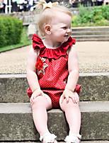 Недорогие -малыш Девочки 1 предмет Повседневные Хлопок Лён Бамбуковая ткань Акрил Однотонный Весна Без рукавов Простой Винтаж Красный