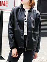 Недорогие -Жен. Повседневные Зима Кожаные куртки V-образный вырез,Простой Однотонный Длинная Длинные рукава Полиуретановая Крупногабаритные