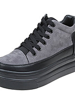cheap -Women's Shoes PU Spring Summer Comfort Sneakers Flat Round Toe for Casual Gray Black