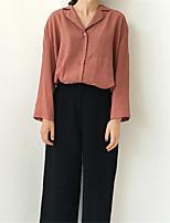cheap -Women's Casual/Daily Active Spring/Fall Shirt,Solid Shirt Collar Long Sleeve Cotton Medium