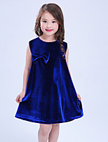 cheap -Baby Girl's Daily Sports Solid Dress, Cotton Linen Bamboo Fiber Acrylic Spring Simple Vintage Sleeveless Blue Red