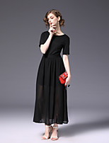 cheap -Women's Swing Dress - Solid Color, Basic