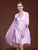 abordables -Costumes Satin & Soie Pyjamas Femme-Stylé,Couleur Pleine