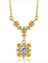 cheap -Women's Fashion Elegant Pendant Necklace Rhinestone Zircon Gold Plated Pendant Necklace , Wedding Daily