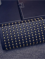 cheap -Women Bags PU Wallet Beading Buttons for Casual All Season Gray Black