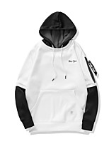 cheap -Men's Daily Going out Casual Street chic Solid Geometric Letter Hooded Hoodie Regular, Long Sleeves Summer