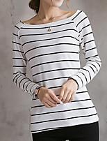 preiswerte -Damen Gestreift Street Schick Ausgehen T-shirt,Bateau Frühling Sommer Langärmelige Polyester
