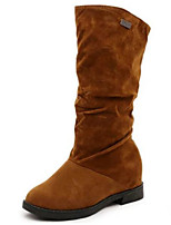 cheap -Women's Shoes Nubuck leather Winter Fall Comfort Fashion Boots Boots Flat Heel Mid-Calf Boots for Casual Red Brown Black