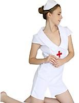 Недорогие -Медсестры Платья Шапки Жен. Фестиваль / праздник Костюмы на Хэллоуин Белый Однотонный Сексуальные платья