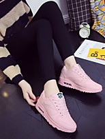 cheap -Women's Shoes PU Winter Fall Comfort Sneakers Flat Heel Round Toe for Casual Light Blue Pink Black