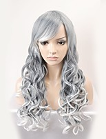 cheap -New fashion wig long paragraph gray gradient wavy high temperature silk wig