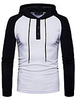 cheap -Men's Sports Hoodie Color Block Hooded Micro-elastic Cotton Long Sleeve Spring/Fall