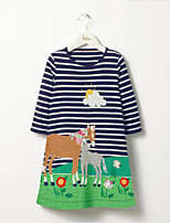 cheap -Girl's Daily Striped Patchwork Dress,Cotton Spring Fall Long Sleeves Cute Casual Cartoon Light Blue Navy Blue