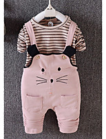 cheap -Baby Girls' Daily Striped Clothing Set,Cotton All Seasons Simple Long Sleeve Blushing Pink