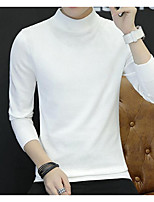cheap -Men's Going out Solid Turtleneck Pullover, Long Sleeves Winter Fall Polyester